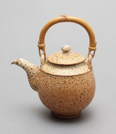 Wheel Thrown Stoneware Teapot with Yellow / Tan Glaze and Speckles by Hsin-Chuen Lin