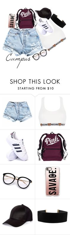 """Campus Summer"" by smokeylovebae ❤ liked on Polyvore featuring Moschino, adidas, Casetify, River Island and Georgine"