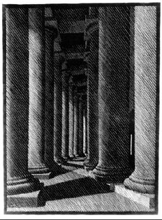 Nocturnal Rome, Colonade of St. Peter's - M.C. Escher, 1934