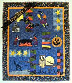 Halloween Night quilt pattern from www.spindlesdesigns.com #quilting #patterns