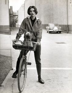 audrey hepburn on her bike at paramount studios - 1957