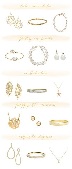 Gold + White Jewelry Roundup (Under $150!)  Read more - http://www.stylemepretty.com/2013/07/24/gold-white-jewelry-under-150/
