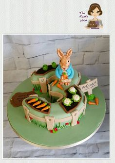 Peter rabbit cbeebies Beatrix Potter number 3 cake.  Www.thepurplewhisk.co.uk