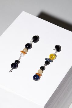 Faris Blue Playsway Earrings in Silver, Onyx, Glass, Amber and Pearl