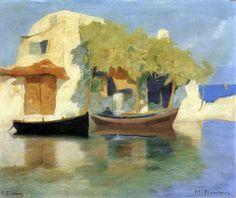 .:. Οικονόμου Μιχαήλ – Michail Oikonomou [1888-1933]Σπίτι στο ακρογιάλι με κληματαριά