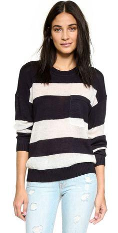 Maison Scotch Striped Mixed Knit Pullover | SHOPBOP