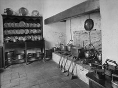 An Old Fashion Kitchen with Old Equipment in a Historic House