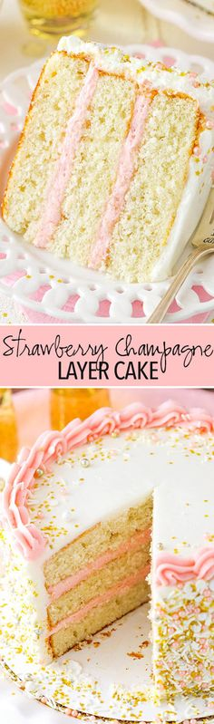 Strawberry Champagne Layer Cake Strawberry Champagne Layer Cake – layers of moist champagne cake with fresh strawberry frosting! Perfect for New Years Eve! Just Desserts, Delicious Desserts, Yummy Food, Baking Recipes, Cake Recipes, Dessert Recipes, Champagne Cake, Champagne Birthday, Strawberry Champagne