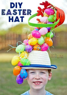 Easter bonnet ideas sure to wow at the Easter parade. From easy Easter hats to fun Easter crowns, here are 17 Easter bonnets the kids will love. Plastic Easter Eggs, Easter Egg Crafts, Easter Toys, Cute Crafts, Crafts For Kids, Diy Crafts, Easter Hat Parade, Crazy Hats, Crazy Crazy