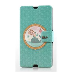 Gview Fashionable Slim Whale Badge Painting Series PU Leather Case For Sony Xperia Z