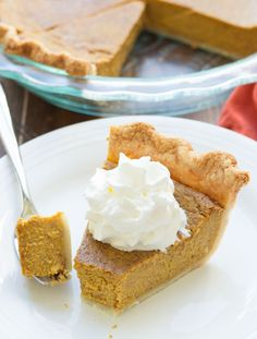 Pumpkin Pie - This is THE recipe for Classic Pumpkin Pie. 30 minutes prep, easy no-chill pie crust, and lots of pumpkin and spice flavors! The perfect pie for your Thanksgiving or holiday meal!