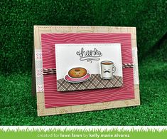 Lawn Fawn - Love You a Latte + coordinating dies, Stitched Rectangle Stackables, Cranberry Woodgrain Notecard, Sweater Weather 6x6 paper, Speech Bubble Border, Hot Cocoa Lawn Trimmings _card by Kelly for Lawn Fawn Design Team