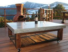 DIY Outdoor Concrete Top Patio Table