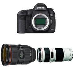 Canon EOS 5D Mark III Digital SLR Camera w Canon 24-70mm F2.8L II and Canon 70-200mm F4L IS Lens Bundle