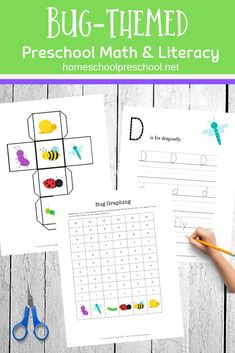 Preschoolers will work on early math and literacy skills with this pack of preschool insect theme printables. 50 pages of learning fun! Homeschool Worksheets, Preschool Printables, Free Printables, Preschool Arts And Crafts, Preschool Education, Infant Activities, Preschool Activities, Spring Activities, Learning Through Play