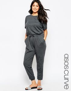 Image 1 ofASOS CURVE Washed Casual Jumpsuit With Drawstring