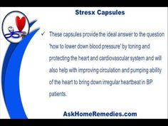 This video describes about how to lower down blood pressure safely with ayurvedic remedies. You can find more detail about Stresx capsules at http://www.askhomeremedies.com