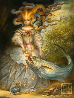 Spanish Mackerel (print) fantasy art octopus girl portrait fish tentacles costume beauty and the beast Die kleine Krake Contessa mit ihrem Makrelenarchivdruck auf mattem Papier, [. Omar Rayyan, Spanish Mackerel, The Beast, Fantasy Kunst, Pop Surrealism, Mermaid Art, Magical Creatures, Fantastic Art, Surreal Art