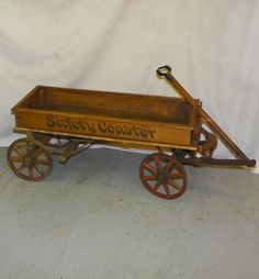 . Antique Wood Spoke Wheel Coaster Wagon Antiques For Sale, Selling Antiques, Vintage Antiques, Kids Wagon, Toy Wagon, Vintage Games, Vintage Toys, Wheelbarrow Wheels, Wooden Wagon