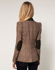 Blazer+with+Suede+Elbow+Patches | Ted Baker Checked Sharp Shoulder Blazer With Suede Elbow Patches in ...