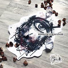 Trash polka realistic eye forest tree tattoo illustration