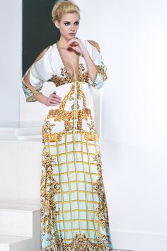 Baccio Couture Shy Silk Long Versace Print Dress - Hook-and-eye closures can be found along the neck line to adjust the amount of coverage. Slit long sleeves trimmed with gold leather creates a luxurious summer look. #versacedresses