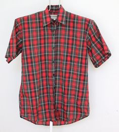 de3089357f2 Vintage Red Plaid Shirt Mens Medium Unisex Womens Short Sleeve Multi Colored  Button Up Oxford Wilder