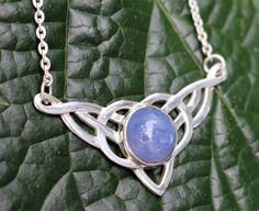 Celtic Blue Chalcedony Necklace and Sterling Silver Necklace