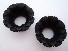 black areng wood Blooming Lotus Flower plugs #FLORALURHEART