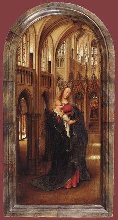 Madonna of the Church  ~Jan van Eyck  1425 to 1427  Oil on panel  [National Museums in Berlin] , Berlin, Berlin, Germany