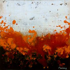 "Red between white and black. Orange to soften.  Online Artist Lisa Carney; Painting, ""Fuzzy Saffron"" #art"