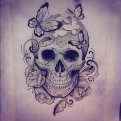 I love drawing skulls not because they're skulls but because they're challenging and original. So many different techniques are involved and the shading you really have to go all out. I love it and I love the focal point of this particular one. Showing how beauty escapes former something not so beautiful.
