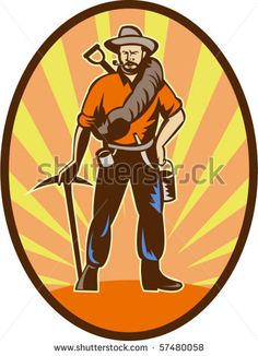 vector illustration of a Miner, prospector or gold digger with pick axe and shovel standing front #golddigger #retro #illustration