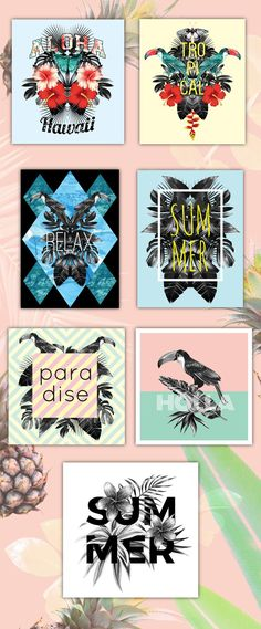 Paradise collection: tropical summer vector patterns and prints