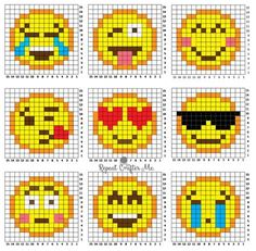 Crochet Emoji Graphgan (Repeat Crafter Me) Are you or your kids Emoji-obssessed? It's hard not to love those cute little faces and icons that give your texts and social media posts a little pizzazz! I created 9 Emoji Crochet (corner-to-cor Fuse Bead Patterns, Perler Patterns, Loom Patterns, Beading Patterns, Cross Stitch Patterns, Jewelry Patterns, Jewelry Ideas, Perler Bead Emoji, Diy Perler Beads