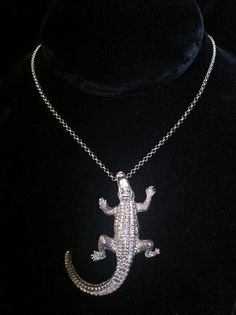 Crocodile Pendant with chain by FlorencioDesigns on Etsy
