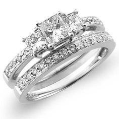 3+Stone+14K+White+Gold+Princess+Cut+Wedding+Ring+Set
