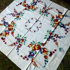 1950s Tablecloth NEVER USED Hand Printed by gingermoontraders at ETSY