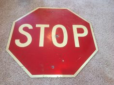 "1950's 30"" x 30"" Aluminum Red & Creme Stop Sign, Sign, Signs, Vintage Signs, Metal Sign, Traffic Sign. by AntiqueGeneralStore on Etsy https://www.etsy.com/listing/225341952/1950s-30-x-30-aluminum-red-creme-stop"