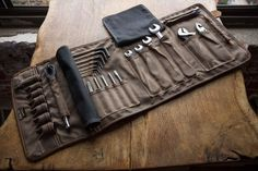 IN STOCK: THE ORIGINAL TOOL BOOK ™ (Black Waxed Cotton and Leather Motorcycle Tool Roll)
