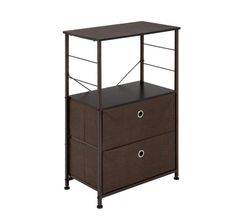 MELD Nightstand 2 Drawer Shelf Storage Bedside Furniture Accent End Table Chest for Home Bedroom Office College Dorm Steel Frame Wood Top Easy Pull Fabric Bins Brown 2 Drawer Dresser, Drawer Shelves, Storage Drawers, Storage Shelves, Storage Chest, Shelf, Smart Storage, Dressers, Fabric Drawers