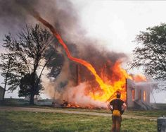 """bluedragonkaiser:  vondell-swain:  vondell-swain:  missyzu:  Fire from a burning building being sucked into a tornado.  wh get out of there fireman what are you doing there's a tornado  I can't stop laughing at this fireman he's just standing there going """"well darn, look at that. fire tornado. huh.""""  """"That tornado's carrying a car!""""  Everything changed after the Fire Nation attacked"""