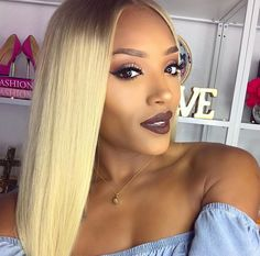 Love this blonde color! Looking for #613 blonde sew in bundles? Check out our website and shop now for closures, frontals, and more #blondeweave #613hair #sewinweave #hairextensions #laceclosure Photo credit: @missylynn