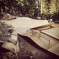 Custom Backyard Mini Ramp Bowl we built for a client in Lake Tahoe.