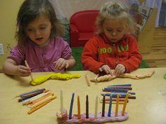 Playdough Invitation to Play: playdough menorahs with candles