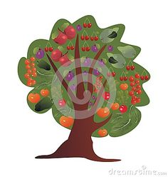 Tree With Fruits And Vegetables Stock Vector - Illustration of fruit, design: 53637814 Radish Salad, Apple Pear, Vegetable Stock, Stuffed Green Peppers, Fruits And Vegetables, Cherries, Tomatoes, Plum
