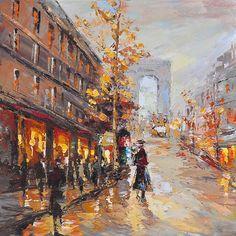 schilderij stadsgezicht 80x80   Schilderijenshop