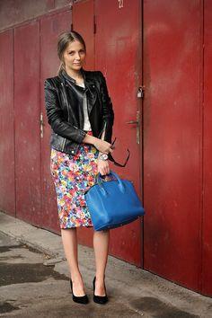Floral skirt leather jacket