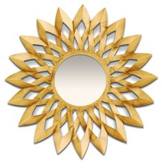 """25"""" in diameter, this Barcelona Gold Mirror will make a big impression in any room. The elegant sun burst design will brighten up any space."""
