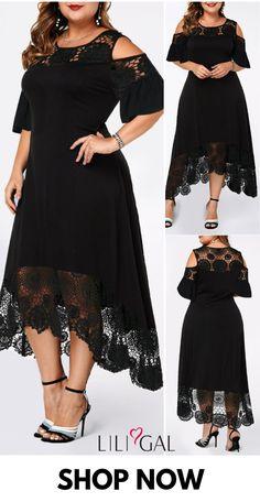Plus Size Fashion : Black Cold Shoulder Lace Patchwork Plus Size Maxi Dress Black Cold Shoulder Lace Patchwork Plus Size Maxi Dress Vestidos Plus Size, Plus Size Maxi Dresses, Plus Size Outfits, Boho Dress Plus Size, Maxi Outfits, Casual Outfits, Plus Size Kleidung, Maxi Gowns, Mode Style